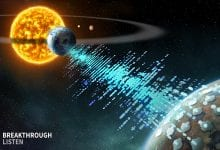 Artist's impression of Breakthrough Listen spotting technosignatures from a distant planet. Source: Breakthrough Listen