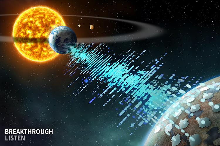 Artist's impression of Breakthrough Listen spotting technosignatures from a distant planet. Source: Breakthrough Listen