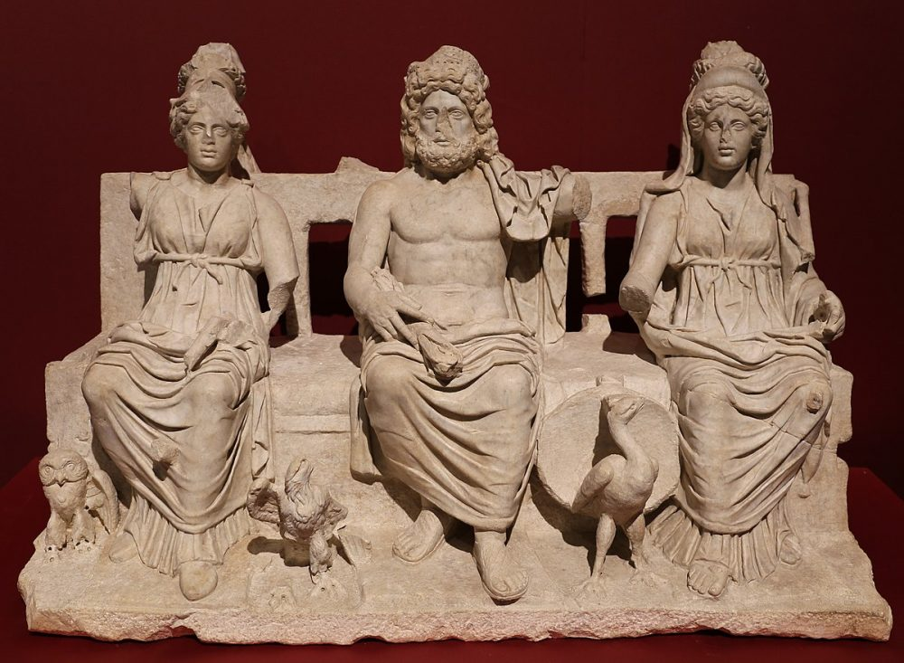 The Capitoline Triad of ancient Rome. These were the three main ancient deities - Jupiter, Juno, and Minerva.