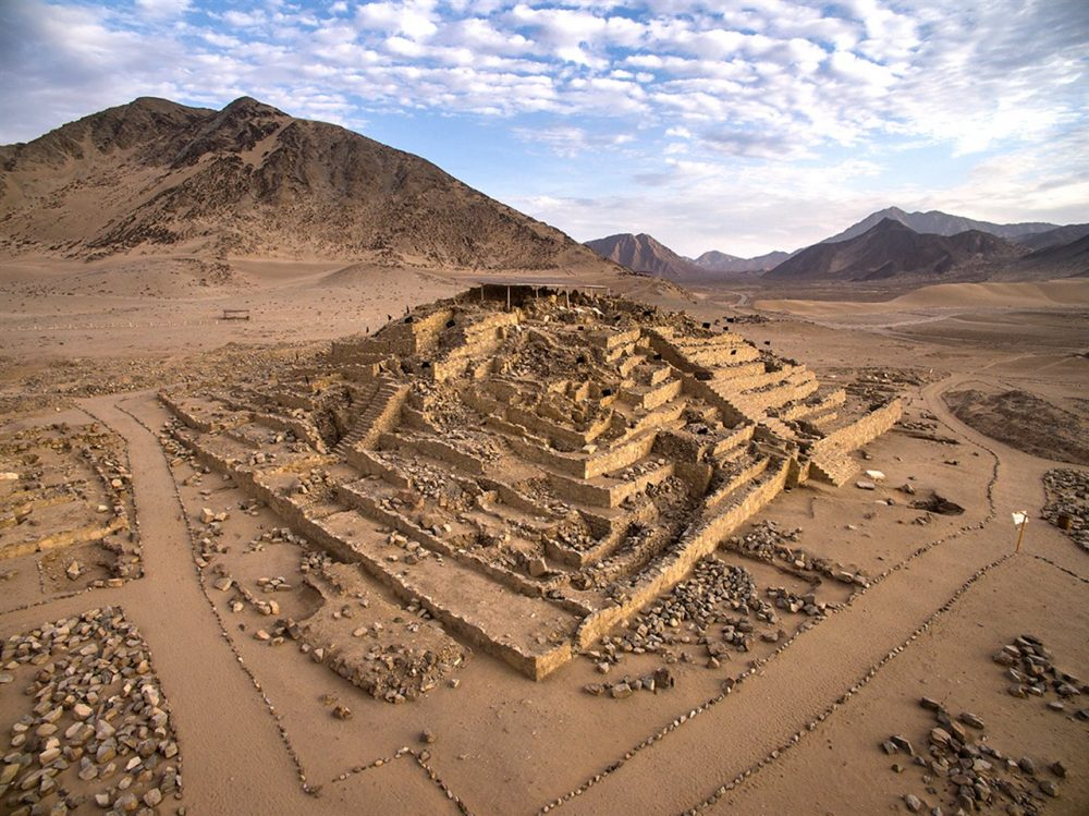 One of the six pyramidal structures in Caral archaeological site in Peru. Source: National Geographic