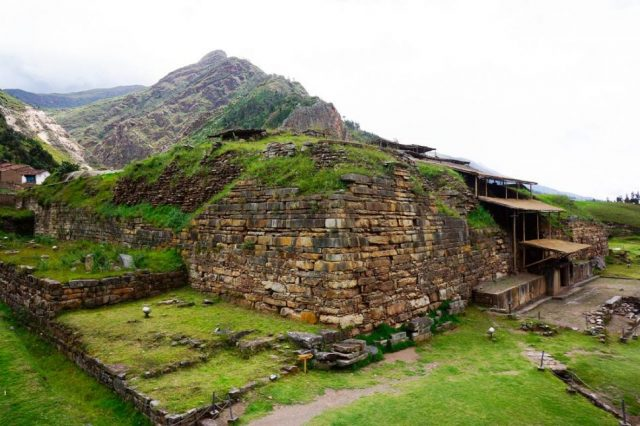"""Side view of the remains of the ancient """"castle"""" of Chavin de Huantar. Source: South American Wonders"""
