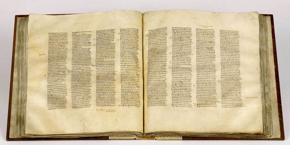 The Codex Sinaiticus from the 4th century.