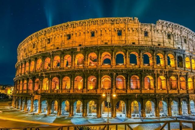 Night view of the magnificent Roman Colosseum. Credit: Pinterest