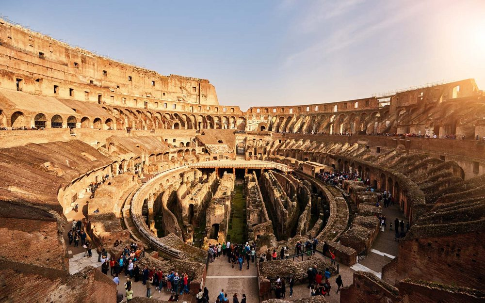 The original ground floor of the Colosseum does not exist anymore revealing the underground complex.