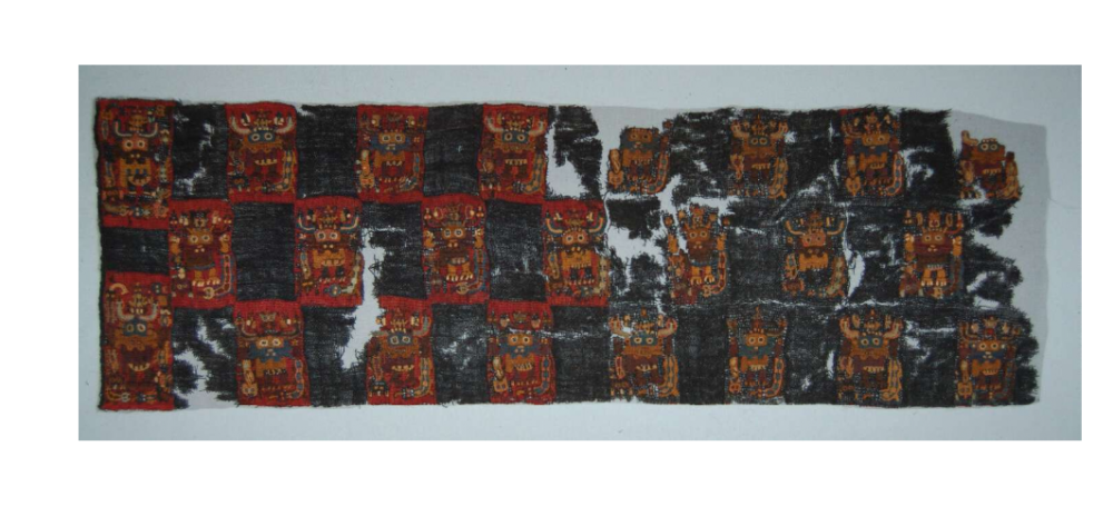 One of the more damaged Paracas Textile pieces exhibited in the British Museum.