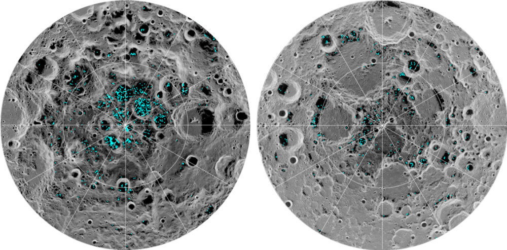 In 2018, NASA's Moon Mineralogy Mapper instrument revealed the existence of ice on the Moon's poles. As you can see, it is patchily distributed and only in the coldest spots. Credit: NASA