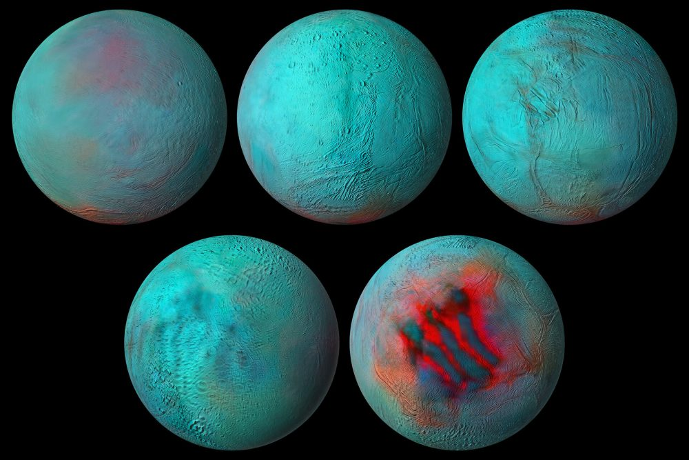 Mosaics of Enceladus, one of Saturn's moons, created with data from the Cassini spacecraft, giving us a brand new amazing presentation of this fascinating moon. Credit: ESA Int.