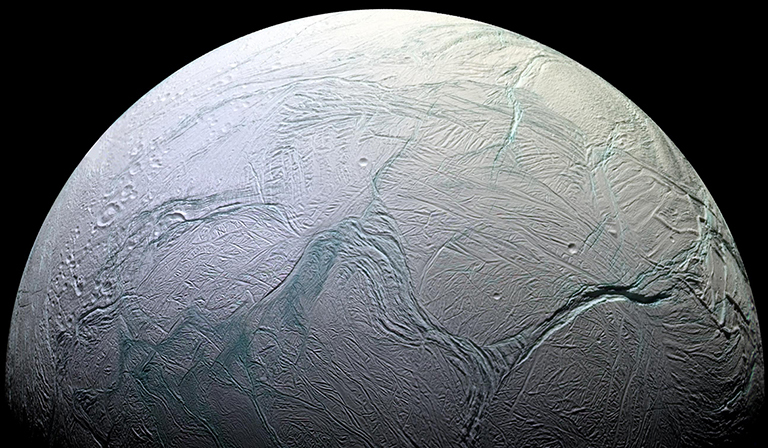 The most famous geysers in the solar system are located on Enceladus. Source: NASA