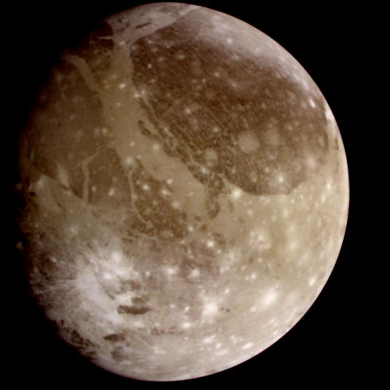 The strange moon Ganymede as seen from the Galileo Spacecraft. Source: NASA