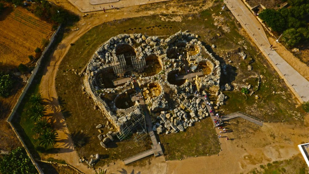 Aerial view over the ancient megalithic complex of Ggantija.