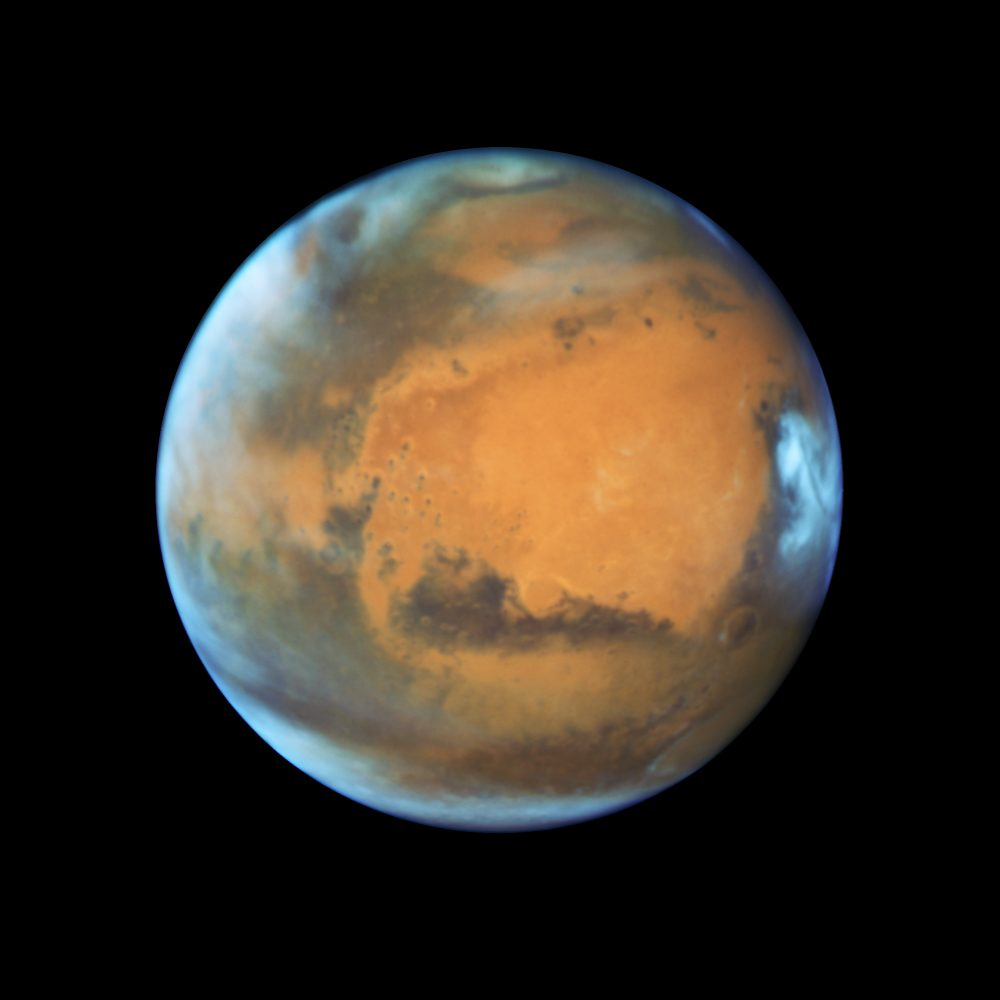 This photograph of the red planet was taken on May 12, 2016 as astronomers used NASA's Hubble Space Telescope to capture a striking image of Mars when it was 50 million miles from Earth. NASA, ESA, the Hubble Heritage Team (STScI/AURA), J. Bell (ASU), and M. Wolff (Space Science Institute).