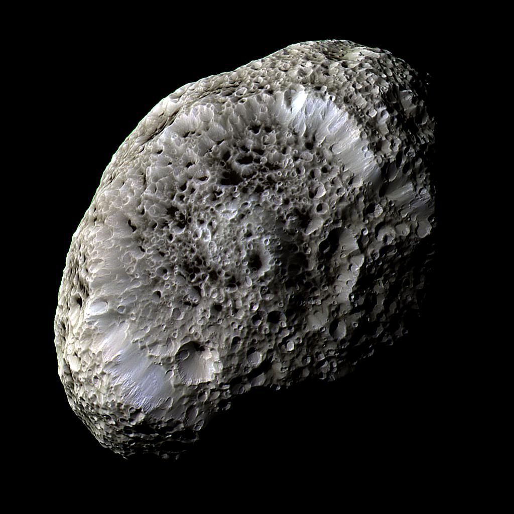 The strange sponge-like Moon Hyperion. Source: NASA