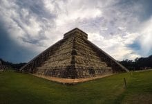 Fish Eye view of the pyramid at Chichen Itza. Jumpstory.