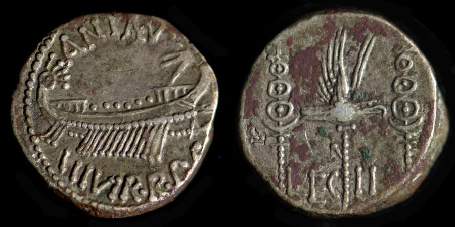 The legionary coins of Mark Anthony.
