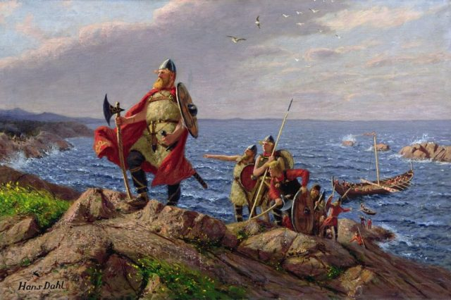 Leif Erikson discovers America, a painting by Norwegian painter Hans Dahl (1849-1937). Credit: Wikiwand