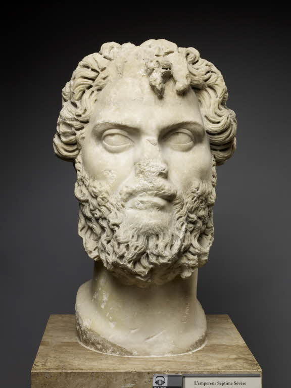 Head marble bust of Emperor Septimus Severus. Credit: Louvre Museum