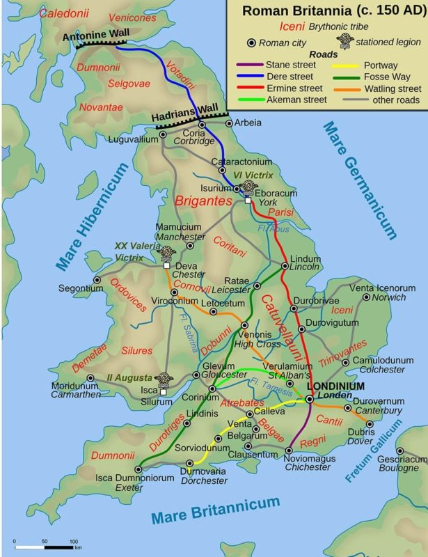 Road map of Roman Britannia.
