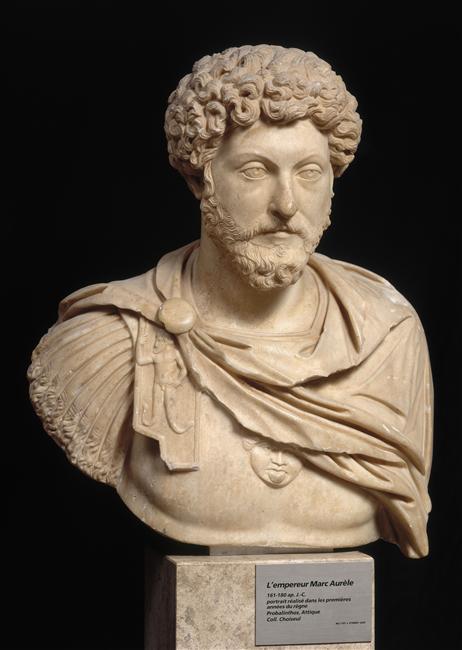 Roman Emperor Marcus Aurelius, marble bust. Credit: Louvre Museum