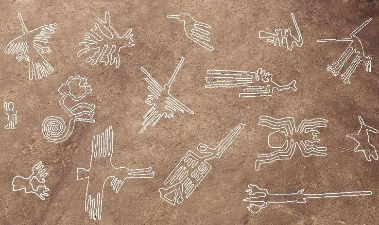 A compilation of the most famous Nazca Geoglyphs. Credit: Machu Travel Peru