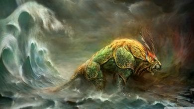 An illustration of the ancient Chinese mythological beast called Nian. You can read about it below.