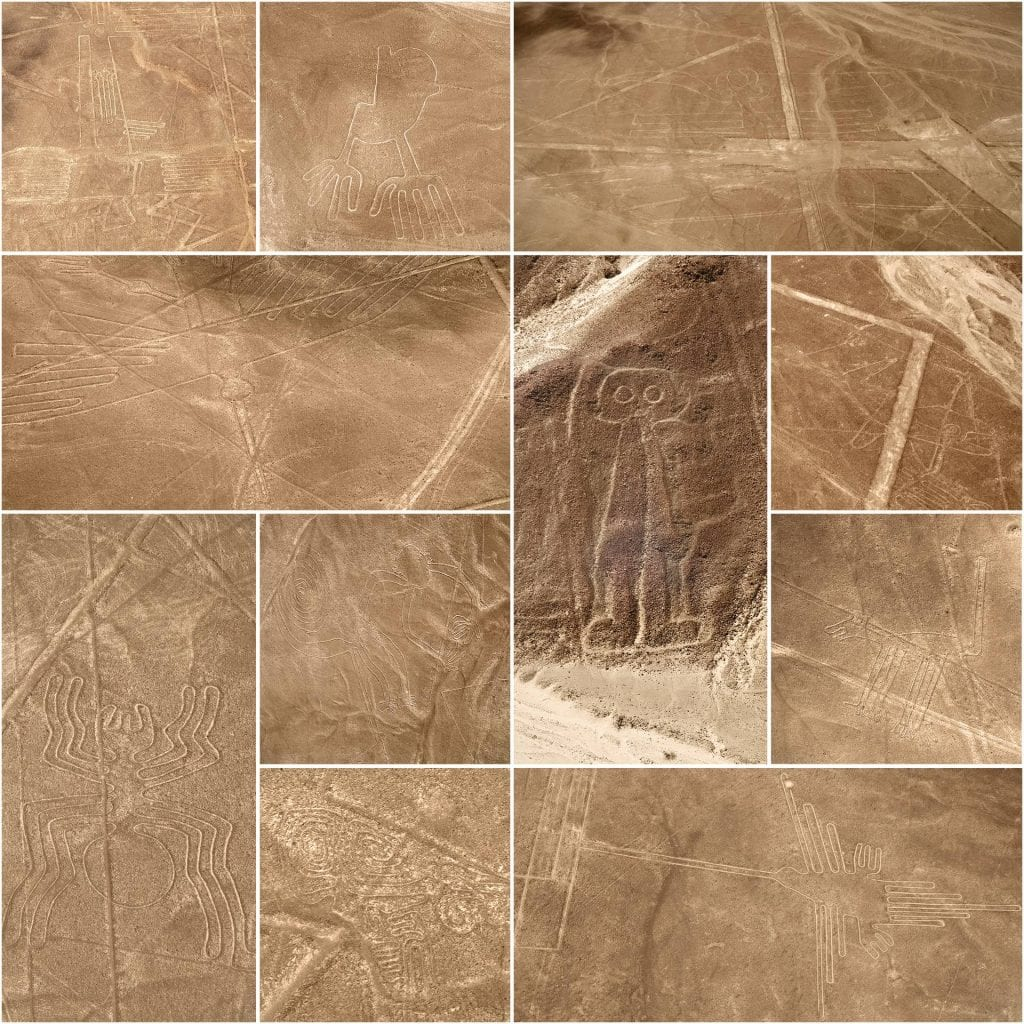 A small compilation of the enigmatic Nazca geoglyphs. Of course, many more exist besides the ones on the picture. Credit: Shutterstock