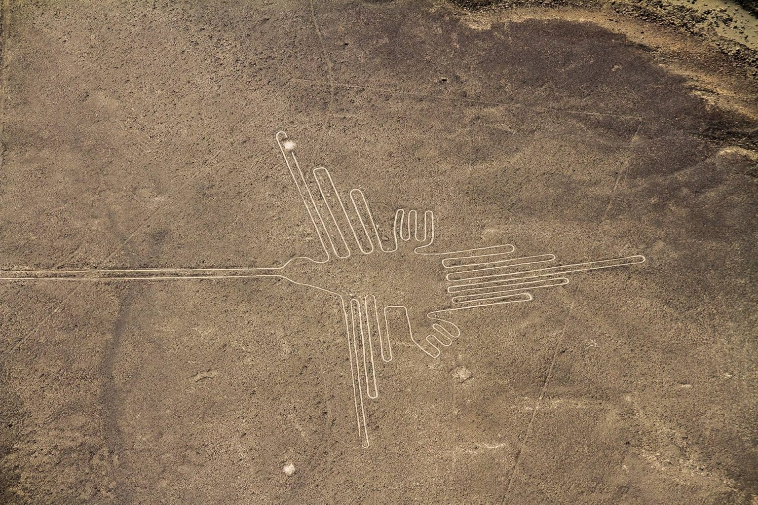 One of the most famous Nazca geoglyphs, believed to be an illustration of a hummingbird. Credit: Shutterstock