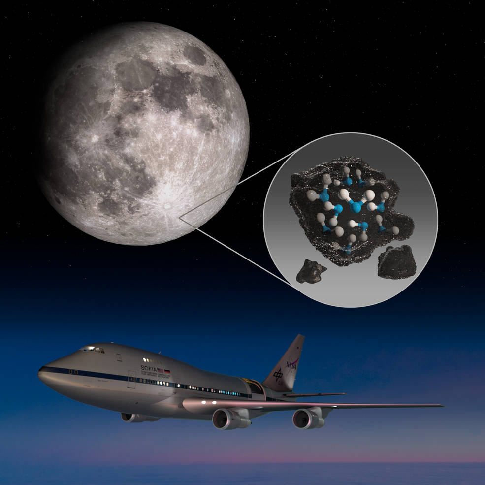 This is an illustration prepared and published by NASA that includes the Stratospheric Observatory for Infrared Astronomy (SOFIA) behind the discovery, the Clavius crater and the water trapped in the soil. Credit: NASA