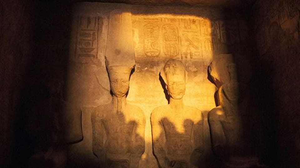 Here is the curious event that takes place twice a year at Abu Simbel.