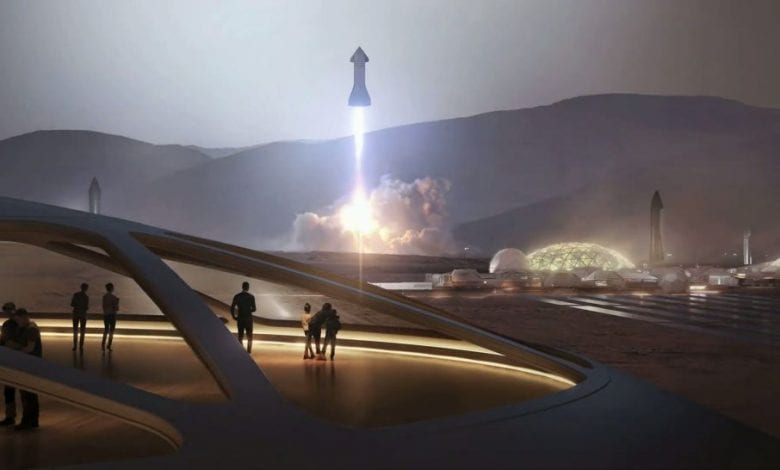 An artistic depiction of SpaceX's plans for sending humans to Mars. Source: SpaceX