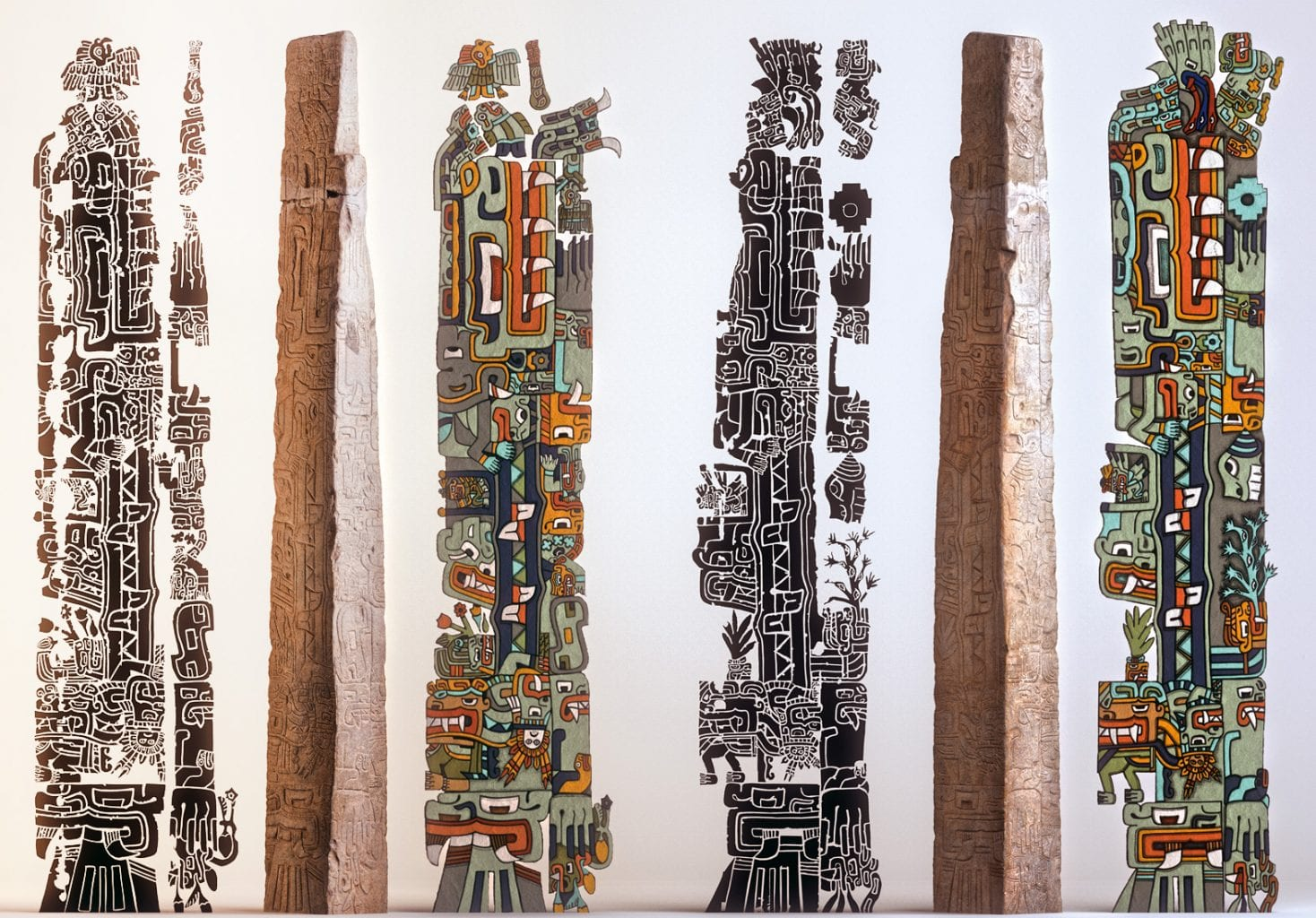 The Tello obelisk together with illustrations of all its sides to give you a better idea. Source: Latin American Studies