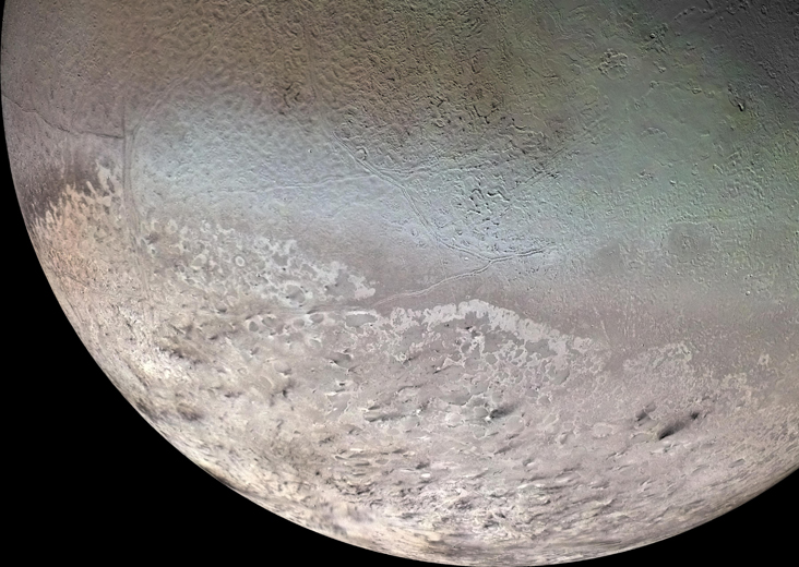The beautiful but strange moon Triton, full of active cryovolcanoes. Source: NASA
