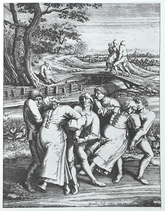 Engraving of Hendrik Hondius portrays three women affected by the plague.
