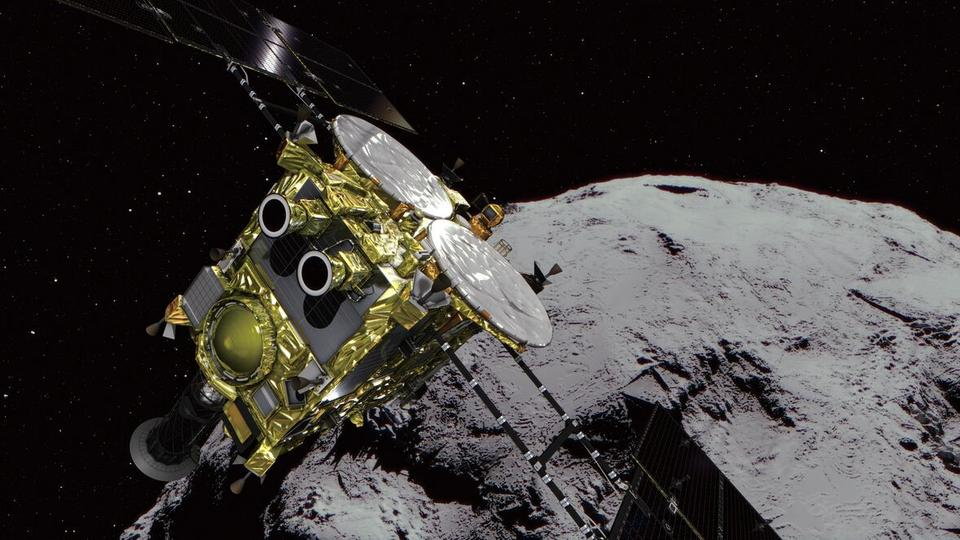 Computer generated illustration of asteroid Ryugu and the ascending Hayabusa2 spacecraft. Credit: TRTWorld