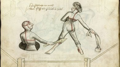 Depiction of a marital duel from Hans Talhoffer's fencing manual from 1459. Credit: Wikipedia