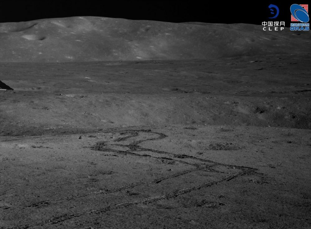 Rover tracks and a nice view of the borders of the Von Karman crater. Credit: CLEP/ Lunar and Planetary Multimedia Database