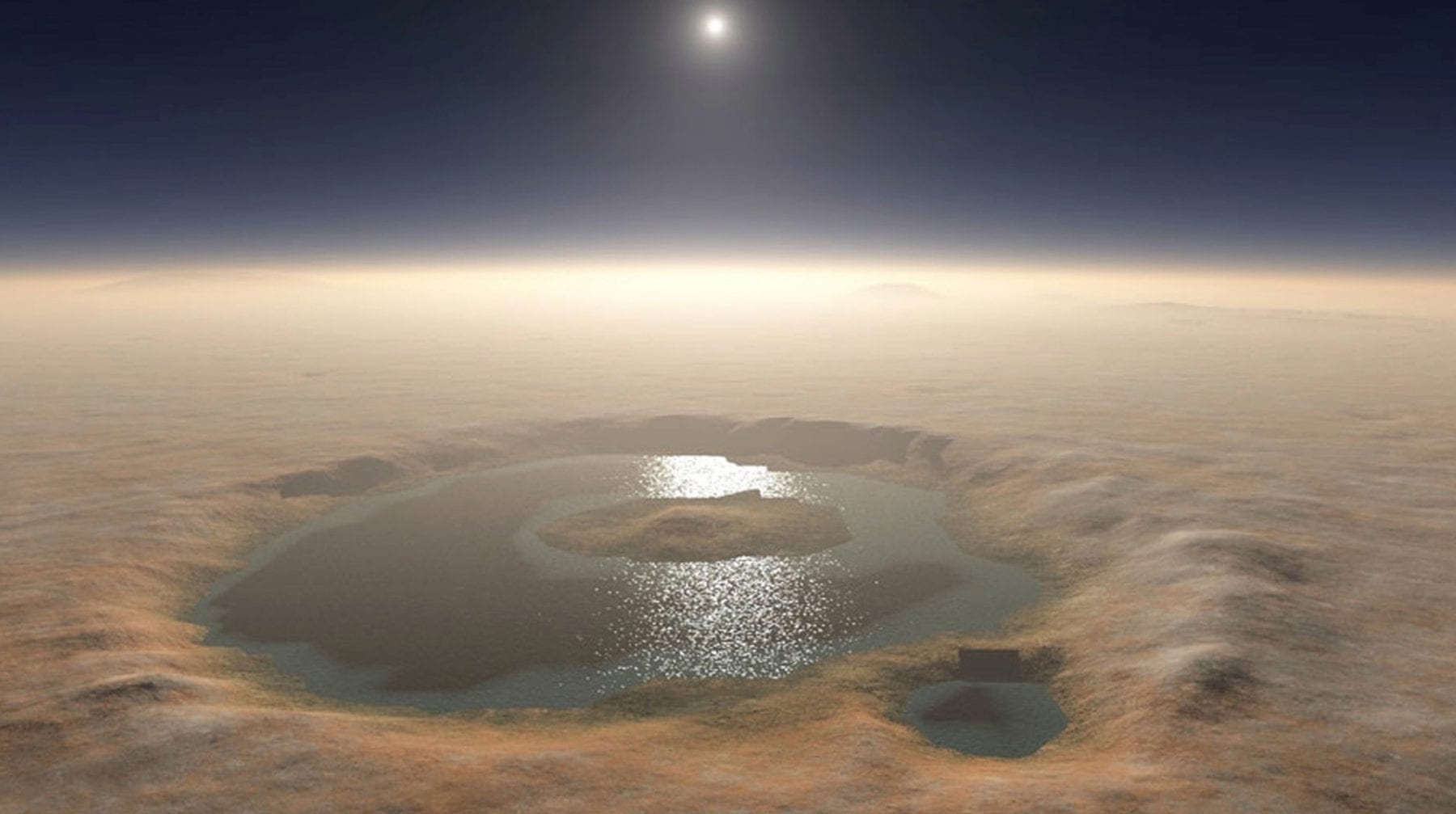 An illustration of the Gale Crater as it may have looked like filled with water billions of years ago. Credit: NASA/JPL-Caltech