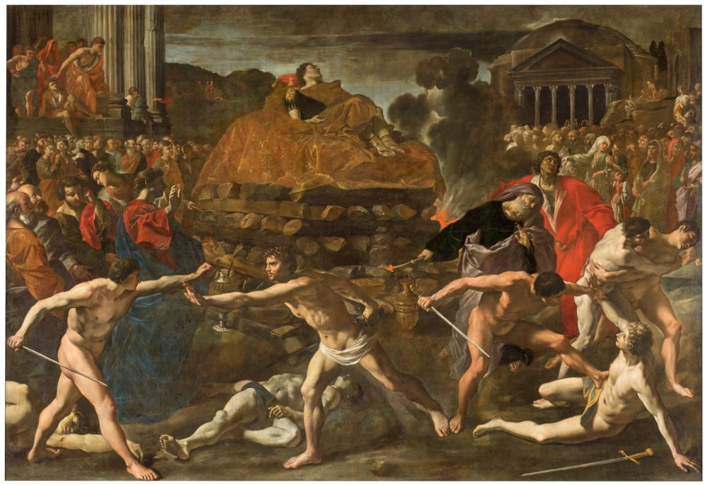 """""""Funeral Rites for a Roman Emperor"""", by Lanfranco Giovanni Di Stefano, 1636. This is not the most accurate depiction of the apotheosis but it should give you a general idea. Credit: Museo Del Prado"""