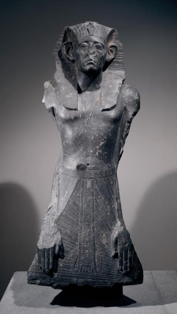 Granodiorite statue of Pharaoh Senurset III, again with a broken nose. Credit: British Museum