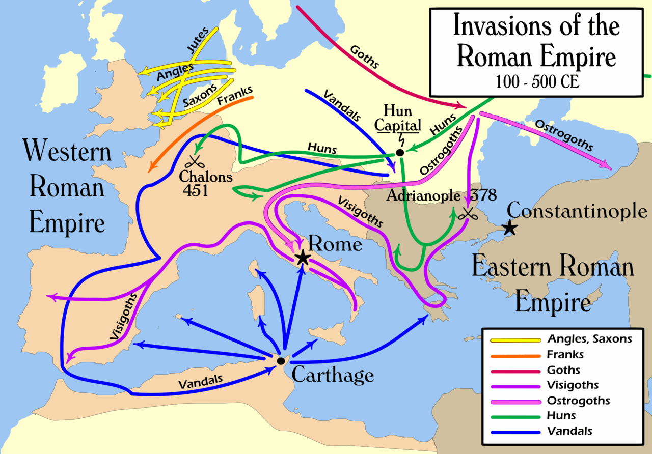 The Barbaric invasions between 100-500 CE. Credit: Wikipedia