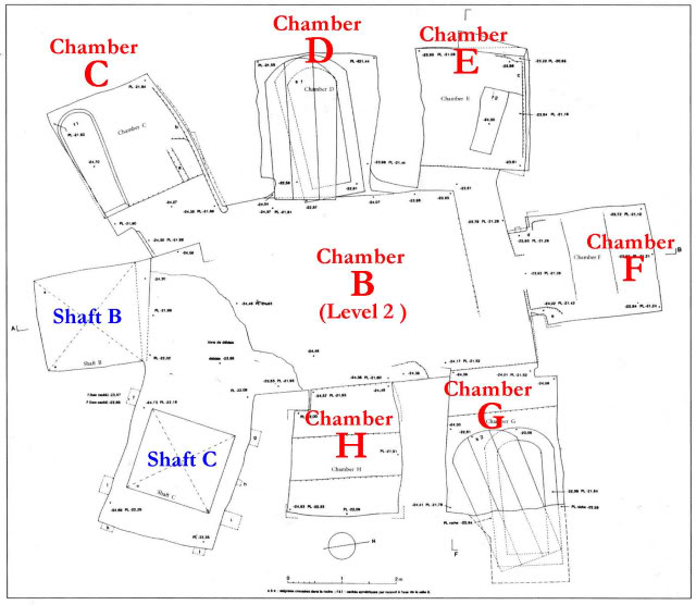 A simple overview of Level 2 of the Osiris Shaft with its chambers. Credit: Hidden Inca Tours