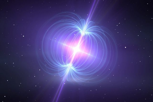An artistic impression of a magnetar - the source behind the mysterious radio signals from space. Credit: Shutterstock