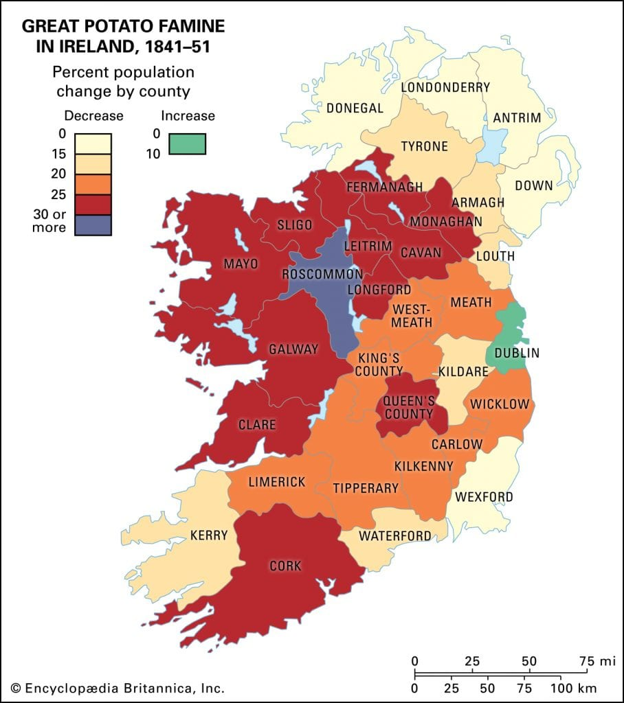 The population changes in Ireland from the years of the Great Famine. Credit: Encyclopædia Britannica, Inc.