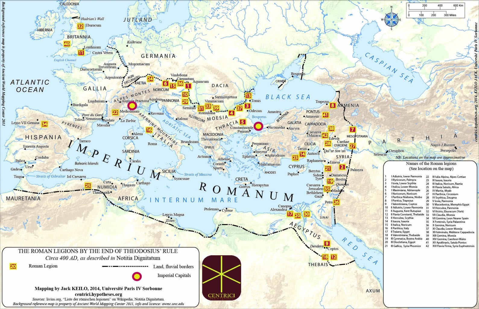 Map showing the disposal of the Roman Legions around 400 AD. Credit: Centrici