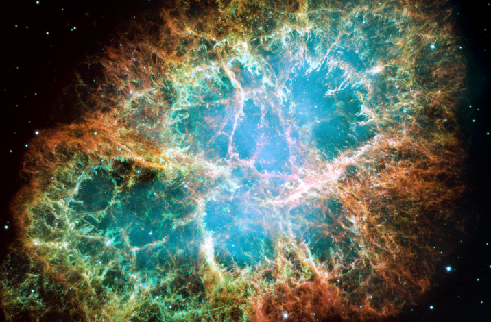 A mosaic image of the Crab Nebula, remnant of an old supernova explosion or otherwise said, a powerful source of cosmic radiation. Credit: NASA, ESA, J. Hester and A. Loll/Arizona State University