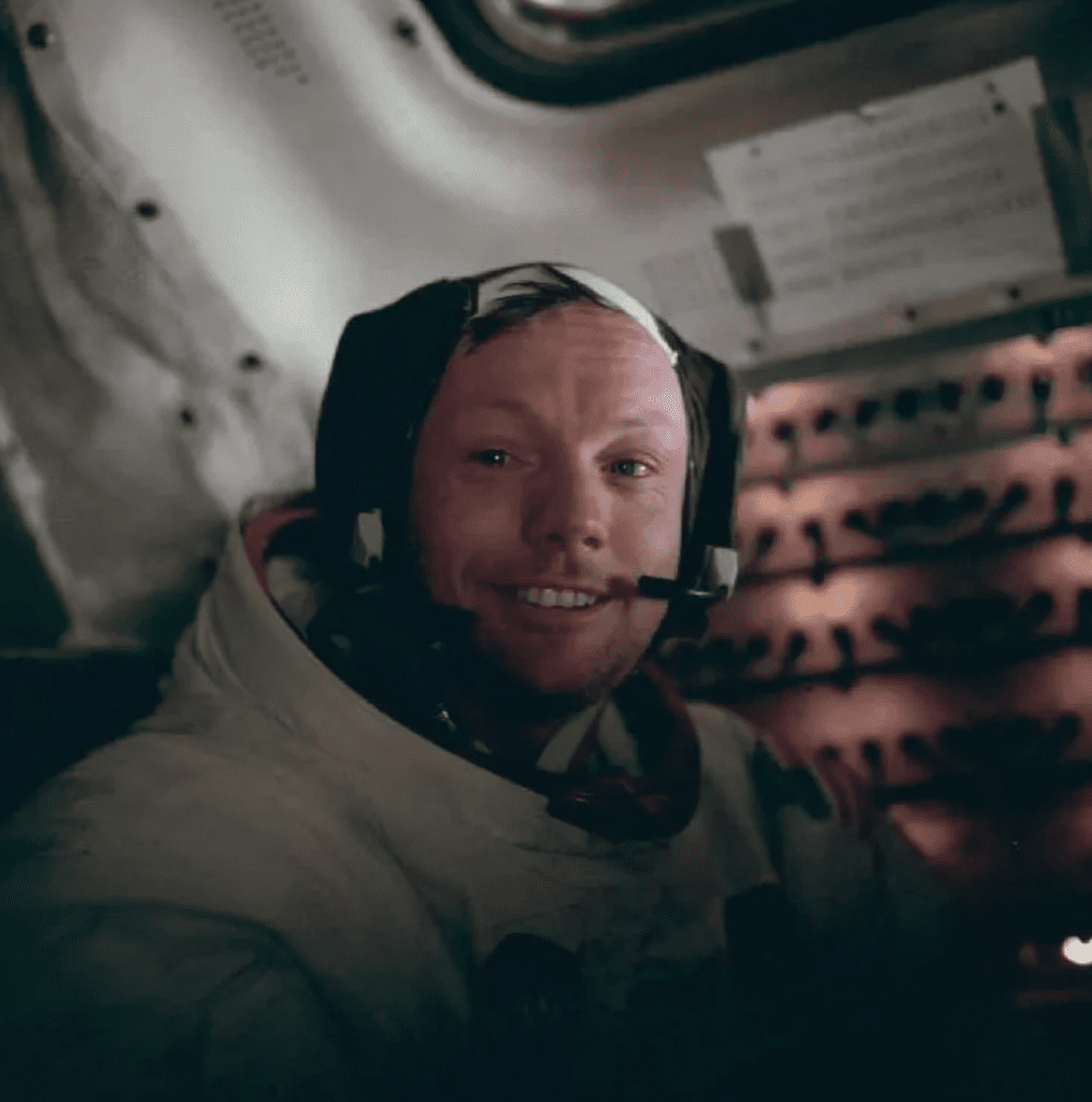 Neil Armstrong sits in the lunar module after a historic moonwalk. Source: NASA