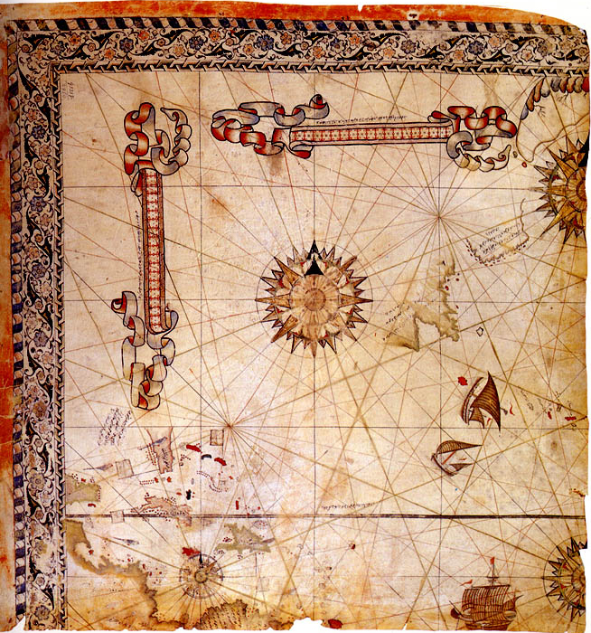 One of the surviving fragments of the Second World Map created by Piri Reis. Credit: Wikipedia