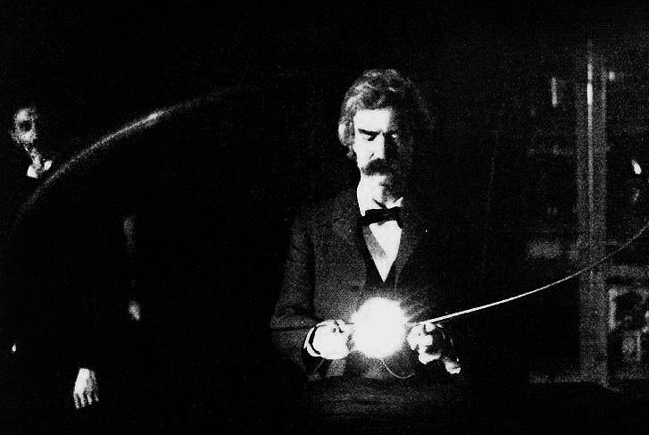Mark Twain in Nikola Tesla's laboratory. Credit: Wikipedia
