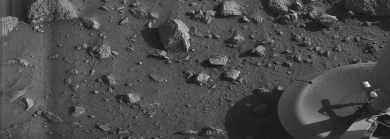 The first-ever image of the surface of Mars uploaded by Viking 1. Credit: NASA