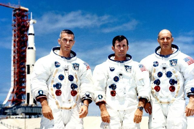 Apollo 10 astronauts Eugene Cernan, John Young and Thomas Stafford photographed before the famous mission. Credit: NASA