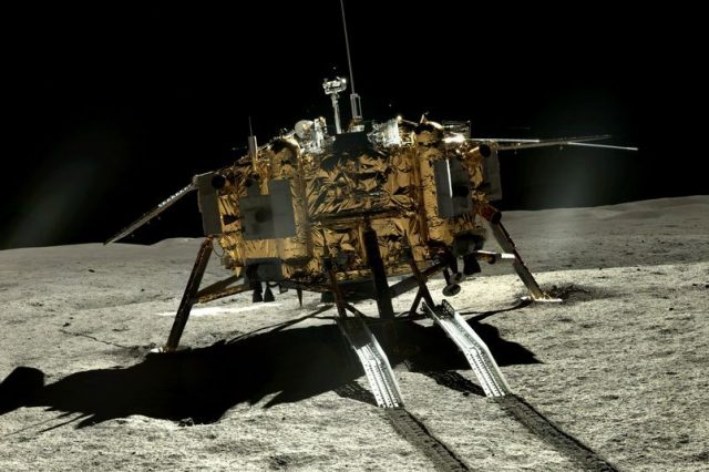 The Chang'e 4 Lander on the far side of the Moon. Credit: CLEP/ Doug Ellison